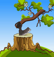 grown tree from the handle of the ax stuck vector image vector image