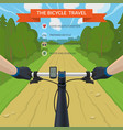 hands on the handlebar of a bicycle vector image vector image