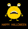 happy halloween cute yellow monster icon cartoon vector image