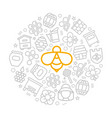 honey thin line icons in circle design vector image
