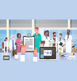 hospital medical team group doctors in modern vector image
