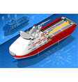 Isometric Icebreaker Ship Isolated in Front View vector image vector image
