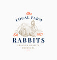 local meat hare farm retro badge or logo template vector image vector image