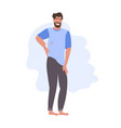 man having pain in his back backache problems flat vector image