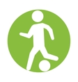man silhouette player soccer green circle vector image