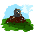 Mole with a magnifying glass on molehill vector image