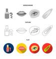 nail polish tinted eyelashes lips with lipstick vector image vector image