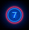 neon city font sign number 7 vector image vector image