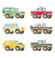 off road car set isolated on white background flat vector image vector image