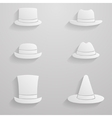 Paper hats icon set vector image