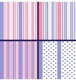 Pastel striped seamless patterns with hearts vector image vector image