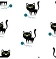 pattern with cat and ball vector image