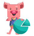pig with analytic sign on white background vector image