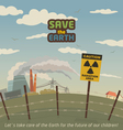 Radiation area landscape around nuclear power plan vector image vector image