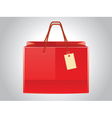 Red shopping bag with tag vector image vector image