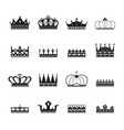 royal crown insignia elements set silhouettes vector image