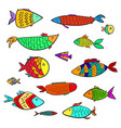 set of cute colorful cartoon aquarium fishes vector image vector image