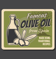 spanish extra virgin olive oil and olives vector image vector image