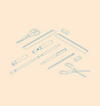 stationery assortment set rulers pencil pen vector image