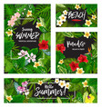summer tropical vacation card wth exotic palm leaf vector image vector image