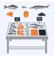 Supermarket shelves with fresh fish vector image