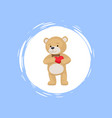 teddy bear with heart in paws cartoon icon vector image vector image