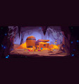 treasure cave with gold coins in chest and barrel vector image vector image