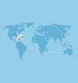 airplane flying above world map aircraft vector image vector image