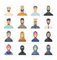 arabic faces avatars muslim characters portraits vector image