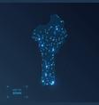 benin map with cities luminous dots - neon lights vector image