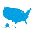 blank map of USA in blue vector image vector image