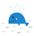 blue whale with water fountain school fish vector image