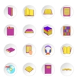 Books icons set cartoon style vector image vector image