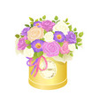 bouquet of flowers in box vector image vector image