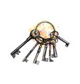 bunch old key from a splash watercolor hand vector image vector image
