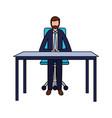 businessman sitting office desk working vector image vector image