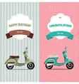 Card scooter set vector image vector image