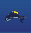 cartoon man scuba diving while holding dolphin fin vector image vector image