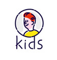 character a young man and kids logo flat vector image vector image