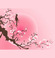 cherry blossom tree with bird japanese art vector image