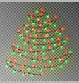 christmas color tree of lights string transparent vector image vector image
