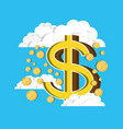 coins falling from the clouds vector image