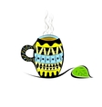 Cup in ethnic style with tea or coffee vector image