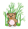 cute Bear in Bamboo Forrest 01 vector image