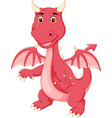 cute little dragon standing with smile and waving vector image vector image