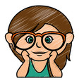 cute little girl with glasses character vector image