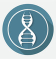 dna icon on white circle with a long shadow vector image
