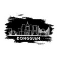 dongguan china city skyline silhouette hand drawn vector image vector image