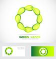 Eco leafs circle logo drawing vector image