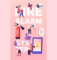 fire alarm safety system concept characters get